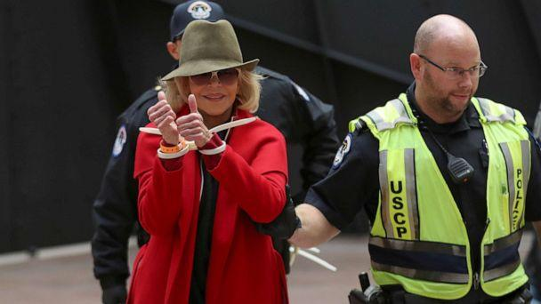 PHOTO: Actress Jane Fonda is arrested by U.S. Capitol Police officers during a 'Fire Drill Fridays' climate change protest inside the Hart Senate Office Building on Capitol Hill in Washington, Nov. 1, 2019. (Siphiwe Sibeko/Reuters)