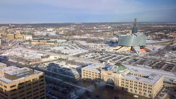 The view from the revolving restaurant atop Fort Garry Place in downtown Winnipeg on Thursday.