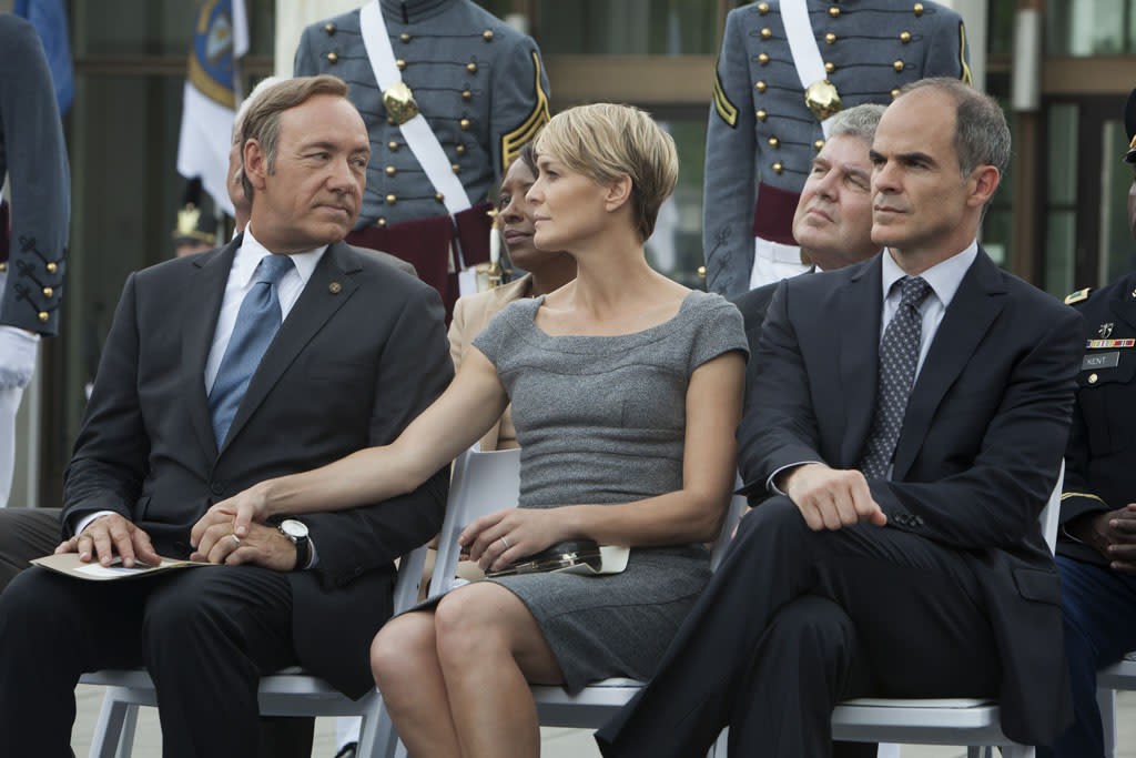 "Kevin Spacey, Robin Wright and Michael Kelly in the ""House of Cards"" Season 1 episode, ""Chapter 8."""