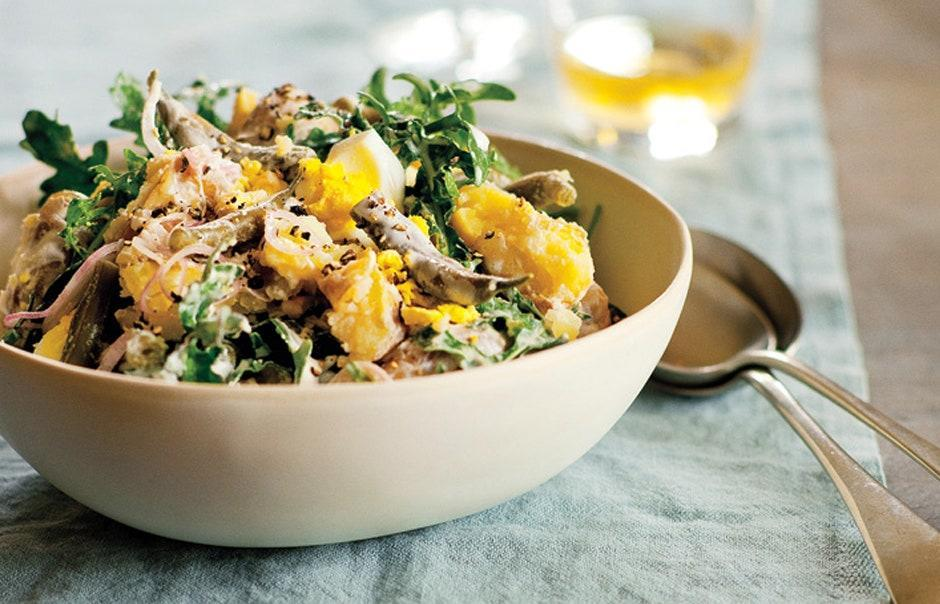 """Packed with herbs and beans, this potato salad is an all-in-one meal. <a href=""""https://www.bonappetit.com/recipe/dilly-bean-potato-salad?mbid=synd_yahoo_rss"""" rel=""""nofollow noopener"""" target=""""_blank"""" data-ylk=""""slk:See recipe."""" class=""""link rapid-noclick-resp"""">See recipe.</a>"""