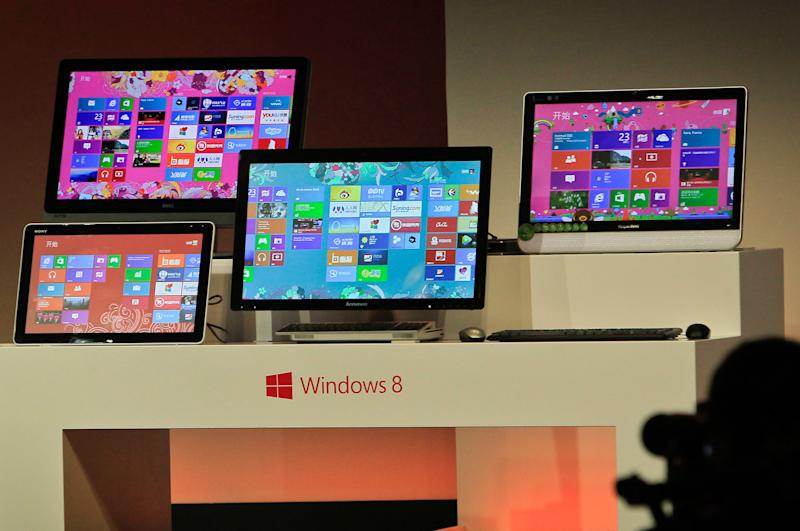 File photo of Microsoft tablet computers and Windows 8 software in Shanghai (AFP Photo/AFP)