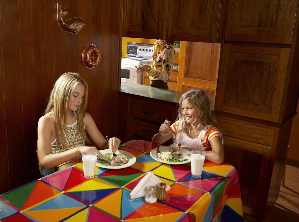 <p>Those vinyl tablecloths we use outside today? In the 70s they were spread over kitchen and dining room tables. Hey, they made Kool-Aid spills easy to wipe up.</p>