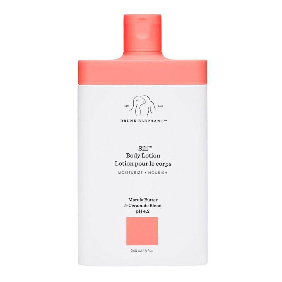 "<p>""One of my favorite clean-beauty, skin-care brands just <a href=""https://www.allure.com/story/drunk-elephant-hair-body-care-collections-review?mbid=synd_yahoo_rss"" rel=""nofollow noopener"" target=""_blank"" data-ylk=""slk:got into body care"" class=""link rapid-noclick-resp"">got into body care</a>. Drunk Elephant's almond-smelling Sili Body Lotion is packed with marula butter and absorbs quickly into your skin."" <em>— Michelle Lee, editor in chief</em></p> <p><strong>$20</strong> (<a href=""https://www.sephora.com/product/drunk-elephant-sili-body-lotion-P457687"" rel=""nofollow noopener"" target=""_blank"" data-ylk=""slk:Shop Now"" class=""link rapid-noclick-resp"">Shop Now</a>)</p>"