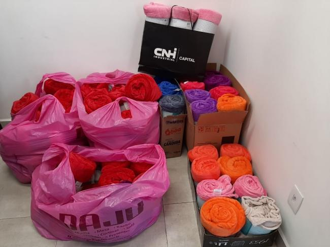 Employees in Brazil donated clothing and blankets