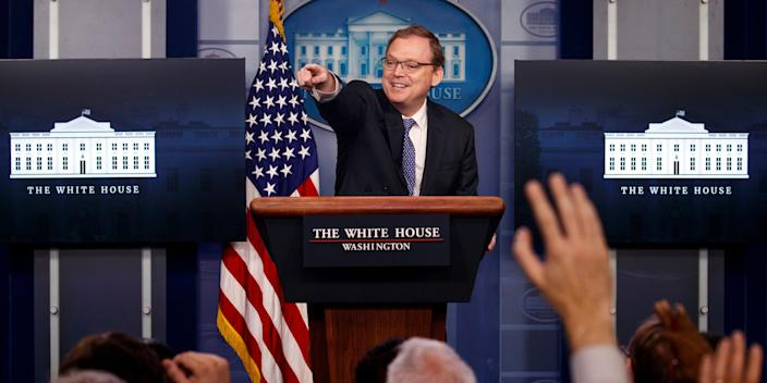 Kevin Hassett, chairman of the Council of Economic Advisers, speaks during the daily press briefing at the White House, Monday, Sept. 10, 2018, in Washington.