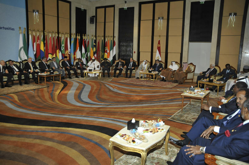In this picture released by the Egyptian Presidency, a general view of the 12th summit of the Organization of Islamic Cooperation in Cairo, Egypt, Wednesday, Feb. 6, 2013. (AP Photo/Egyptian Presidency)