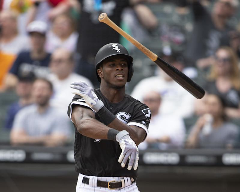 CHICAGO - APRIL 17: Tim Anderson #7 of the Chicago White Sox throws his bat as he reacts after hitting a two-run home run in the fourth inning against the Kansas City Royals on April 7, 2019 at Guaranteed Rate Field in Chicago, Illinois. (Photo by Ron Vesely/MLB Photos via Getty Images)