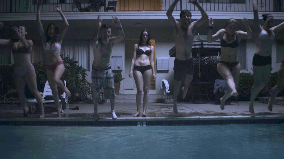 Alex Essoe doesn't want to jump in the pool (credit: Dark Sky Films)