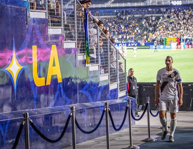 CARSON, CA - JULY 12: Zlatan Ibrahimovic #9 of Los Angeles Galaxy departs the field following the Los Angeles Galaxy's MLS match against San Jose Earthquakes at the Dignity Health Sports Park on July 12, 2019 in Carson, California. San Jose won the match 3-1 (Photo by Shaun Clark/Getty Images)