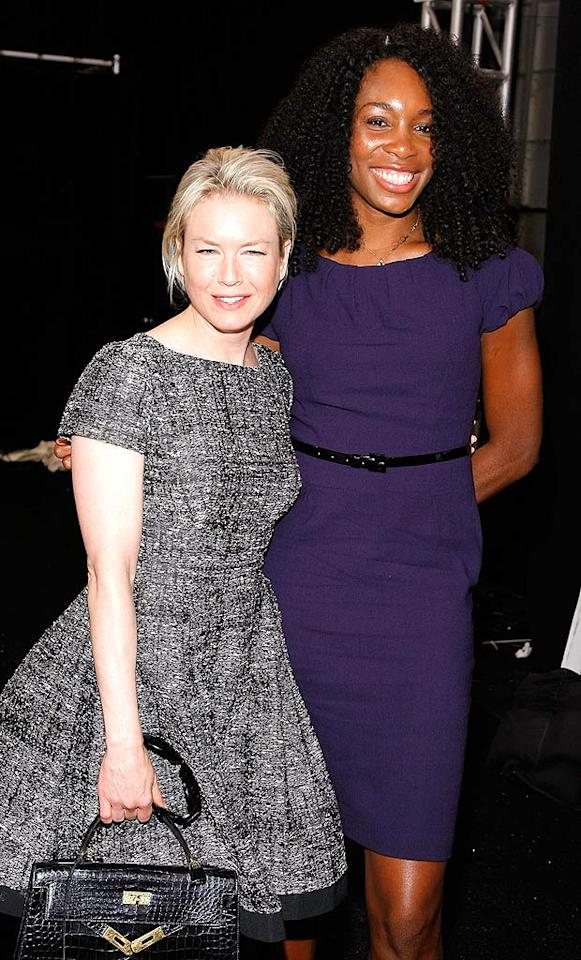 """Renee Zellweger paired her classic frock with a black crocodile bag at the Carolina Herrera show, while Venus Williams popped in purple. We loved seeing the tennis star let her hair down! Jemal Countess/<a href=""""http://www.wireimage.com"""" target=""""new"""">WireImage.com</a> - September 8, 2008"""