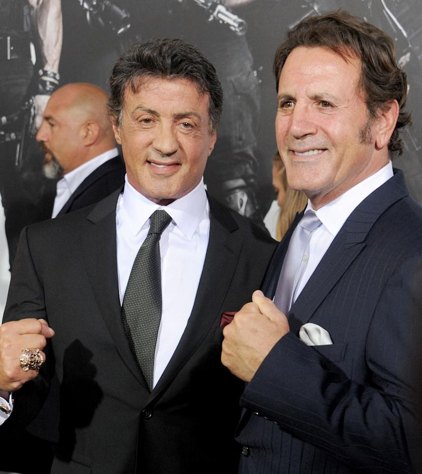 "Sylvester Stallone and Frank Stallone at the Los Angeles premiere of ""The Expendables 2"" on August 15, 2012."