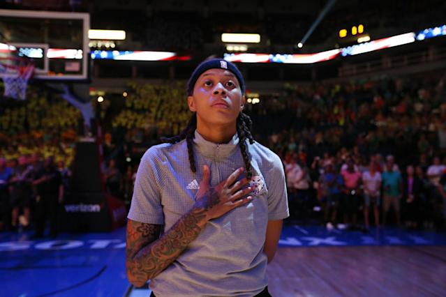 <p>Eight years after her Olympic debut, Augustus will be going for her third-straight gold medal with the U.S. women's basketball team. The former LSU standout and current Minnesota Lynx player married her longtime partner LaTaya Varner in 2015. (Getty) </p>