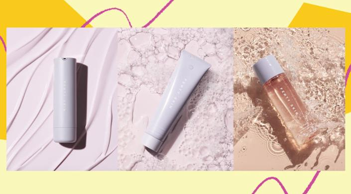 """Fenty Skin has three new products: <a href=""""https://fave.co/3k5L7uq"""" rel=""""nofollow noopener"""" target=""""_blank"""" data-ylk=""""slk:Total Cleans&rsquo;r Remove-It-All Cleanser"""" class=""""link rapid-noclick-resp"""">Total Cleans&rsquo;r Remove-It-All Cleanser</a> ($25), <a href=""""https://fave.co/3jPsoTL"""" rel=""""nofollow noopener"""" target=""""_blank"""" data-ylk=""""slk:Fat Water Pore-Refining Toner Serum"""" class=""""link rapid-noclick-resp"""">Fat Water Pore-Refining Toner Serum</a> ($28) and <a href=""""https://fave.co/39E1w4o"""" rel=""""nofollow noopener"""" target=""""_blank"""" data-ylk=""""slk:Hydra Vizor Invisible Moisturizer Broad Spectrum SPF 30 Sunscreen"""" class=""""link rapid-noclick-resp"""">Hydra Vizor Invisible Moisturizer Broad Spectrum SPF 30 Sunscreen</a> ($35). You can get the three products in a <a href=""""https://fave.co/2XbAbl0"""" rel=""""nofollow noopener"""" target=""""_blank"""" data-ylk=""""slk:starter set for $75"""" class=""""link rapid-noclick-resp"""">starter set for $75</a>. (Photo: HuffPost )"""