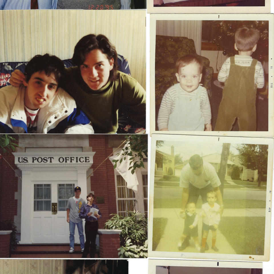 This collection of photos shows Joe Sullivan, of the Chicago-area, with his family. (Family photos via AP)