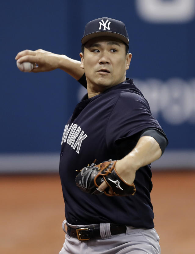 New York Yankees starting pitcher Masahiro Tanaka, of Japan, throws a bullpen session before a baseball game against the Tampa Bay Rays Sunday, June 24, 2018, in St. Petersburg, Fla. (AP Photo/Chris O'Meara)