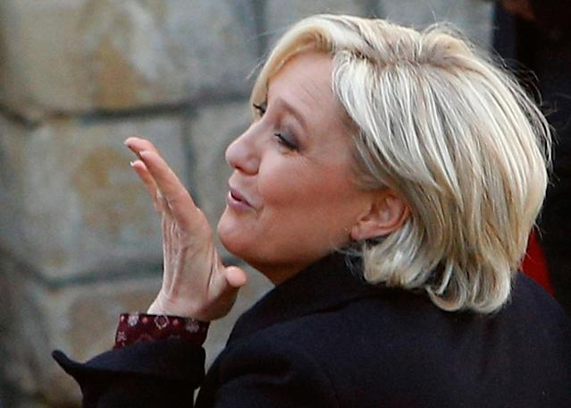 <p>French far-right leader and presidential candidate Marine Le Pen blows a kiss after addressing people in Ennemain, northern France, Thursday, May 4, 2017. (AP Photo/Michel Spingler) </p>