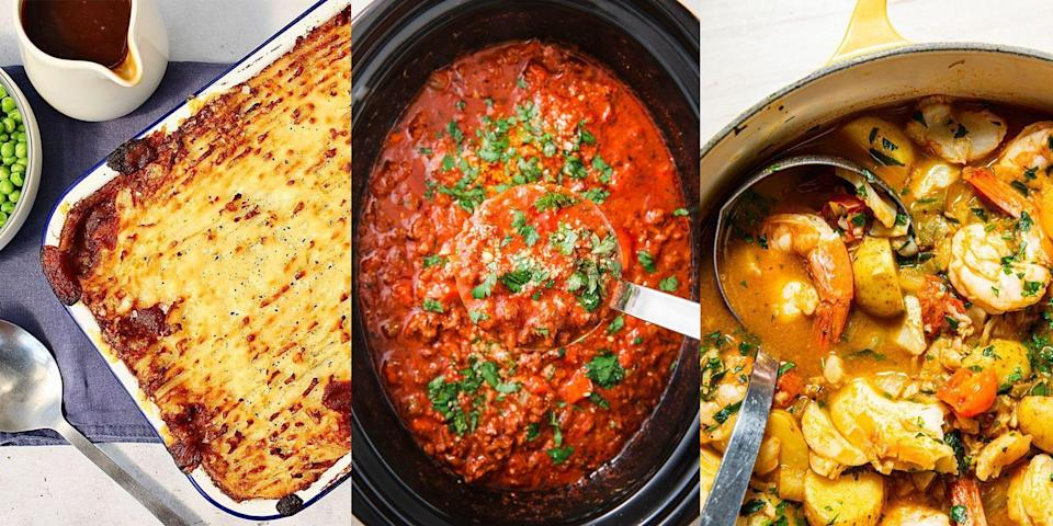 """<p>There's nothing worse than needing a speedy <a href=""""https://www.delish.com/uk/cooking/recipes/g33964583/midweek-meals/"""" rel=""""nofollow noopener"""" target=""""_blank"""" data-ylk=""""slk:weeknight meal"""" class=""""link rapid-noclick-resp"""">weeknight meal</a> and discovering you've got nothing left in the freezer... And let's face it, we've all been there. But it doesn't have to be that way, you can cook up just as inventive and delicious meals ahead of the week, without having to worry about what time you'll be home. From <a href=""""https://www.delish.com/uk/cooking/recipes/a31032765/slow-cooker-bolognese-recipe/"""" rel=""""nofollow noopener"""" target=""""_blank"""" data-ylk=""""slk:Slow Cooker Bolognese"""" class=""""link rapid-noclick-resp"""">Slow Cooker Bolognese</a> to <a href=""""https://www.delish.com/uk/cooking/recipes/a37067353/broccoli-stilton-soup/"""" rel=""""nofollow noopener"""" target=""""_blank"""" data-ylk=""""slk:Broccoli & Stilton Soup"""" class=""""link rapid-noclick-resp"""">Broccoli & Stilton Soup</a> and <a href=""""https://www.delish.com/uk/cooking/recipes/a29782603/sweet-potato-chickpea-curry/"""" rel=""""nofollow noopener"""" target=""""_blank"""" data-ylk=""""slk:Sweet Potato & Chickpea Curry"""" class=""""link rapid-noclick-resp"""">Sweet Potato & Chickpea Curry</a>, there's plenty of easy, fuss-free recipes you can batch cook ready for the week ahead. For a selection of our faves, keep sliding... </p>"""