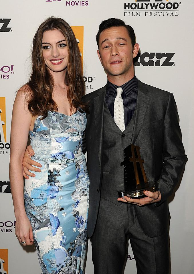 "<a href=""http://movies.yahoo.com/movie/contributor/1804705919"">Anne Hathaway</a> and <a href=""http://movies.yahoo.com/movie/contributor/1800018554"">Joseph Gordon-Levitt</a> at the 15th Annual Hollywood Film Awards in Beverly Hills, California on October 24, 2011."
