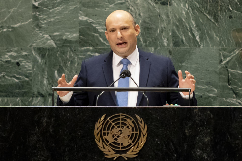 Israel's prime minister Naftali Bennett addresses the 76th Session of the United Nations General Assembly, Monday, Sept. 27, 2021, at U.N. headquarters. (AP Photo/John Minchillo, Pool)