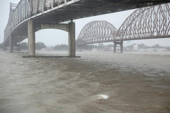 High winds blow across the Atchafalaya river in Morgan City, Louisiana ahead of Tropical Storm Barry, July 13,2019. (Photo: Seth Herald/AFP/Getty Images)