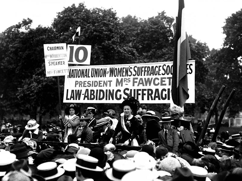 Fawcett speaking at the Suffragist Pilgrimage in Hyde Park, 1913 (PA)
