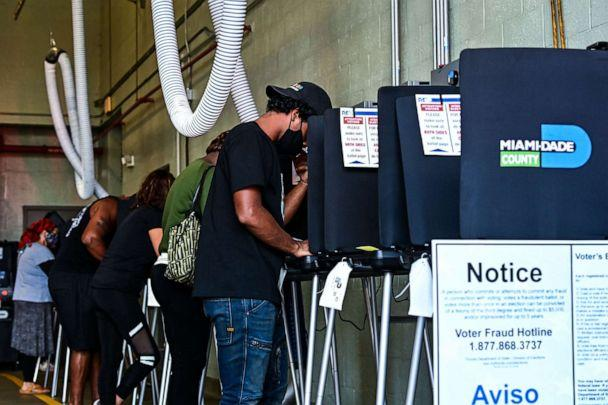 PHOTO: Voters cast their ballots at the Indian Creek Fire Station 4 in Miami on Nov. 3, 2020. (Chandan Khanna/AFP via Getty Images, File)