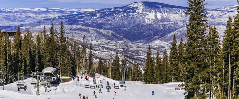 View of a Colorado ski resort on a nice winter day