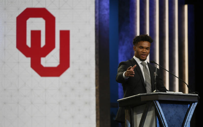 Oklahoma quarterback Kyler Murray speaks after winning the Heisman Trophy on Saturday, Dec. 8, 2018, in New York. (Todd J. Van Emst/Heisman Trophy Trust via AP, Pool)
