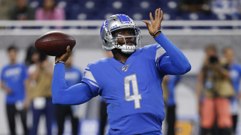 Detroit Lions quarterback Josh Johnson throws against the Buffalo Bills in the second half of an NFL preseason football game in Detroit, Friday, Aug. 23, 2019. (AP Photo/Rick Osentoski)