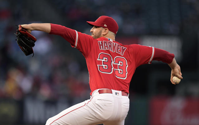Los Angeles Angels starting pitcher Matt Harvey throws to the plate during the first inning of a baseball game against the New York Yankees, Monday, April 22, 2019, in Anaheim, Calif. (AP Photo/Mark J. Terrill)
