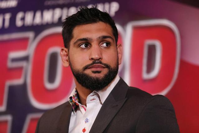 Amir Khan during the press conference at The Landmark London Hotel, London. (Getty Images)