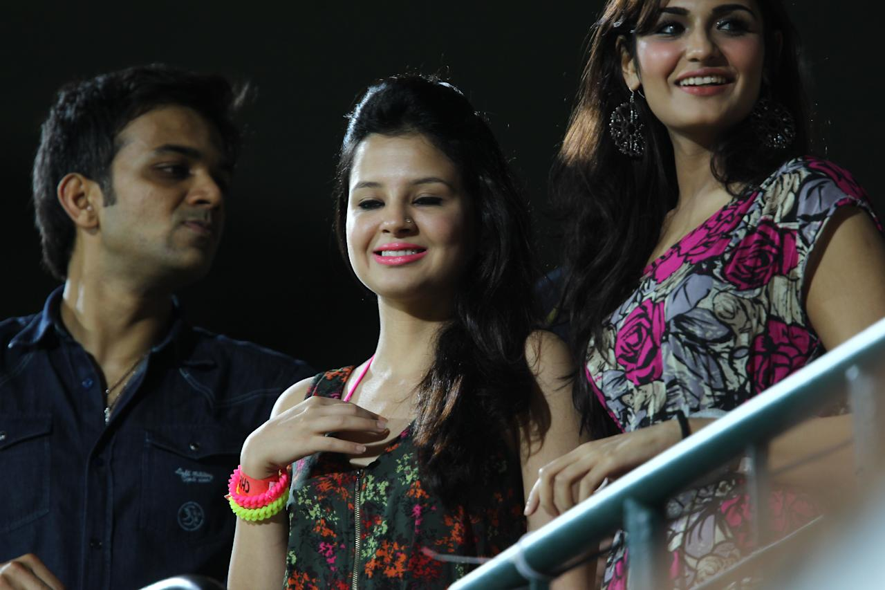 Chennai Super Kings captain MS Dhoni's wife Sakshi during the match between Chennai Super Kings and Rajasthan Royals played at MA Chidambaram Stadium in Chennai on April 22, 2013. (IANS)