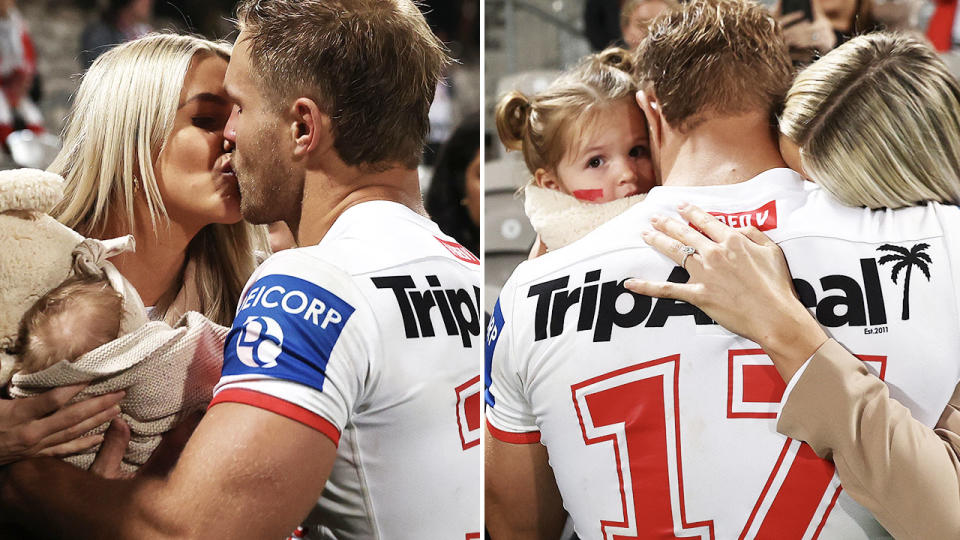 Jack de Belin, pictured here with his partner and children after the Dragons' win over the Broncos.