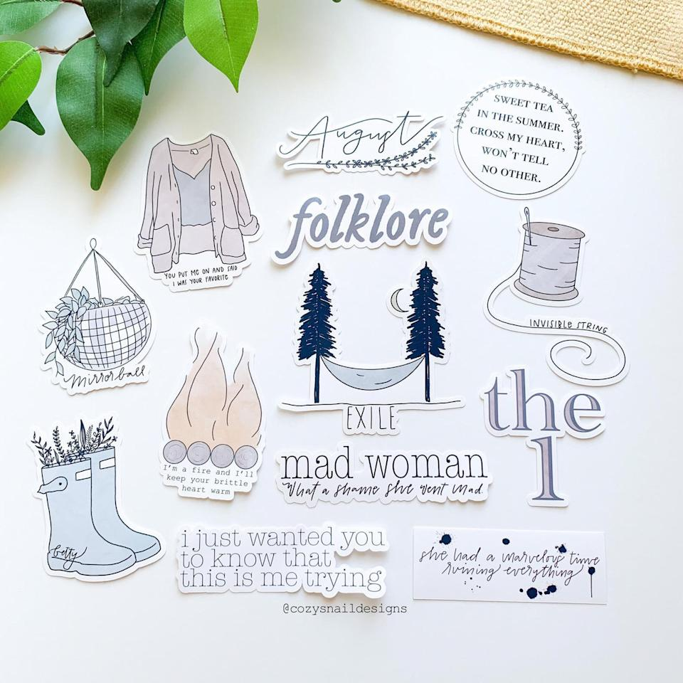 <p>The <span><b>Folklore</b> Taylor Swift Stickers</span> ($16) are perfect to stick on phone cases, laptops, water bottles, and more. </p>