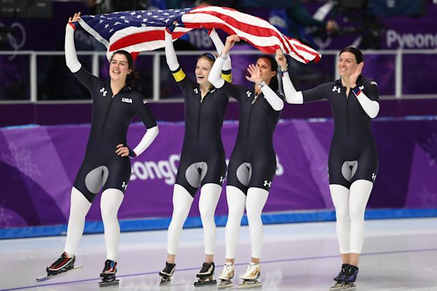 U.S. speed skaters Heather Bergsma, Brittany Bowe, Mia Manganello and Carlijn Schoutens celebrate their win in the team pursuit B final at the 2018 Winter Olympics. (Getty)
