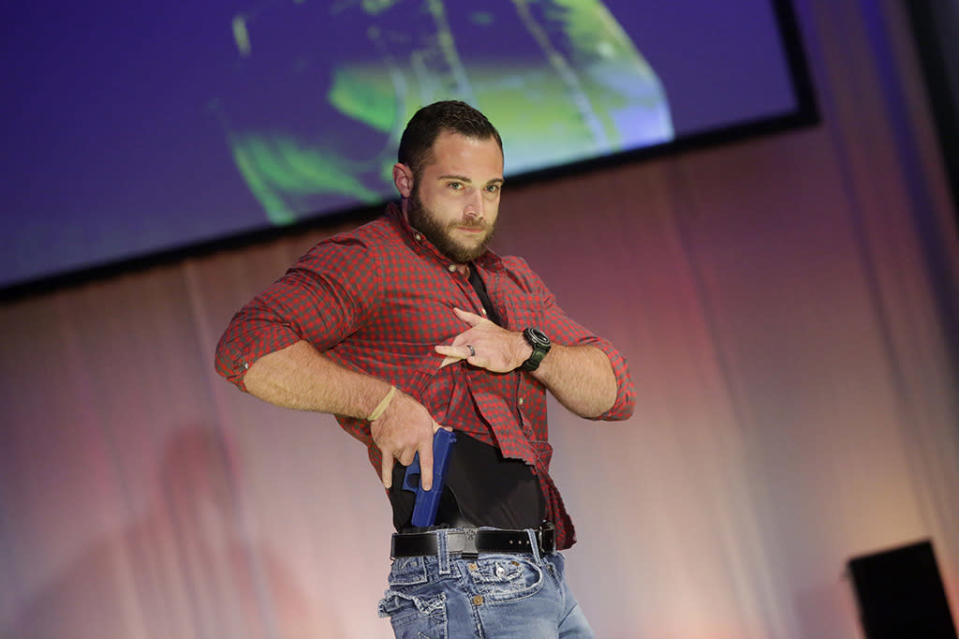 A model on the runway during the NRA Concealed Carry Fashion Show on Aug. 25. (Photo: Joshua Lott/AFP/Getty Images)