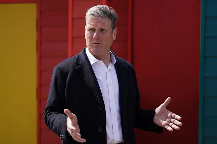 SEATON CAREW, UNITED KINGDOM - MAY 01: Labour Party leader Sir Keir Starmer visits Seaton Carew seafront on May 01, 2021 in Seaton Carew, United Kingdom. The leader and deputy leader of the Labour Party are campaigning in County Durham ahead of the local elections and a by-election in Hartlepool, which both take place on May 6. (Photo by Ian Forsyth/Getty Images)