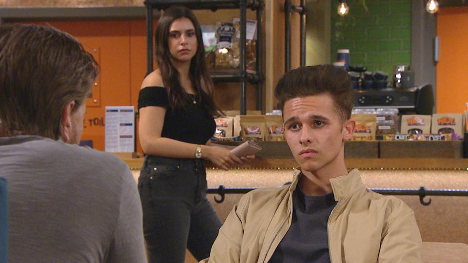 FROM ITV  STRICT EMBARGO  Print media - No Use Before Tuesday 15th June 2021 Online Media - No Use Before 0700hrs  Tuesday 15th June 2021  Emmerdale - Ep 9084  Friday 25th June 2021  Jealous MeenaÕs [PAIGE SANDHU] starting to see Jacob Gallagher [JOE-WARREN PLANT] as an obstacle to her and David MetcalfeÕs [MATTHEW WOLFENDEN] happiness.  Picture contact David.crook@itv.com   This photograph is (C) ITV Plc and can only be reproduced for editorial purposes directly in connection with the programme or event mentioned above, or ITV plc. Once made available by ITV plc Picture Desk, this photograph can be reproduced once only up until the transmission [TX] date and no reproduction fee will be charged. Any subsequent usage may incur a fee. This photograph must not be manipulated [excluding basic cropping] in a manner which alters the visual appearance of the person photographed deemed detrimental or inappropriate by ITV plc Picture Desk. This photograph must not be syndicated to any other company, publication or website, or permanently archived, without the express written permission of ITV Picture Desk. Full Terms and conditions are available on  www.itv.com/presscentre/itvpictures/terms