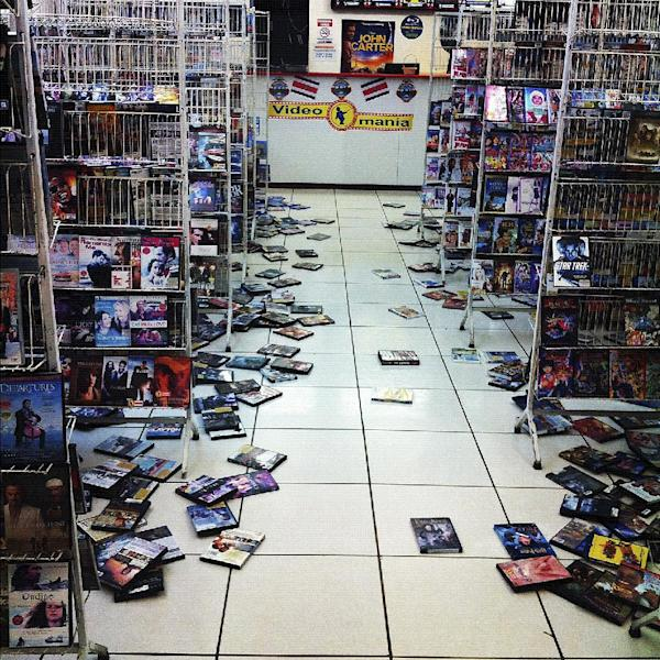 This photo posted to an Instagram account belonging to a person identified as Callie McCoy, shows videos strewn on the floor of a video store at the Paseo de las Flores mall in San Jose, Costa Rica, after an earthquake struck Wednesday, Sept. 5, 2012. A powerful, magnitude-7.6 earthquake shook Costa Rica and a wide swath of Central America on Wednesday. (AP Photo/Callie McCoy via Instagram)