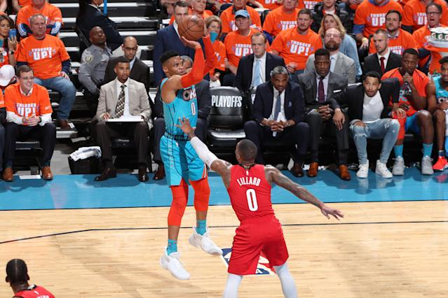 The Oklahoma City Thunder picked up their first win of their opening round playoff series against the Portland Trail Blazers on Friday night. (Photo by Joe Murphy/NBAE via Getty Images)