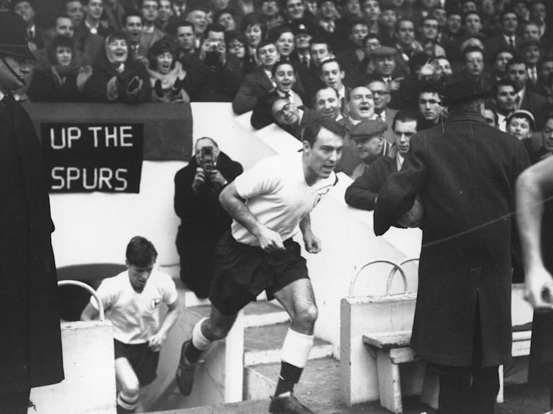 Jimmy Greaves leads out Tottenham's great 1960/61 Double winning side, at White Hart Lane: Getty