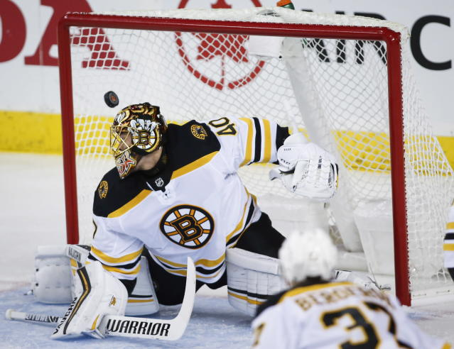 Boston Bruins goalie Tuukka Rask, of Finland, lets in a goal from the Calgary Flames during NHL hockey action in Calgary, Alberta, Wednesday, Oct. 17, 2018. (Jeff McIntosh/The Canadian Press via AP)