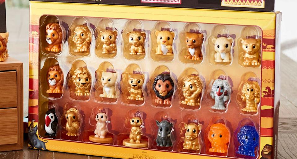 Woolworths' Lion King Ooshies inside a collector's case.