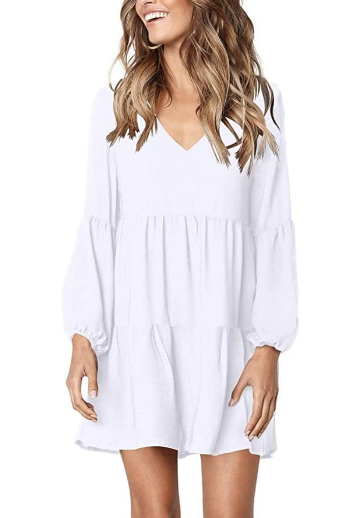 <p>This <span>Fowsmon Ruffle Dress</span> ($25-$29) will look cute with strappy heels, but you can also dress it down with sneakers.</p>