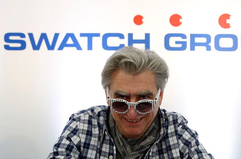 File photo of Swatch Group CEO Hayek wearing sunglasses during the Swiss watchmaker's annual news conference in Biel