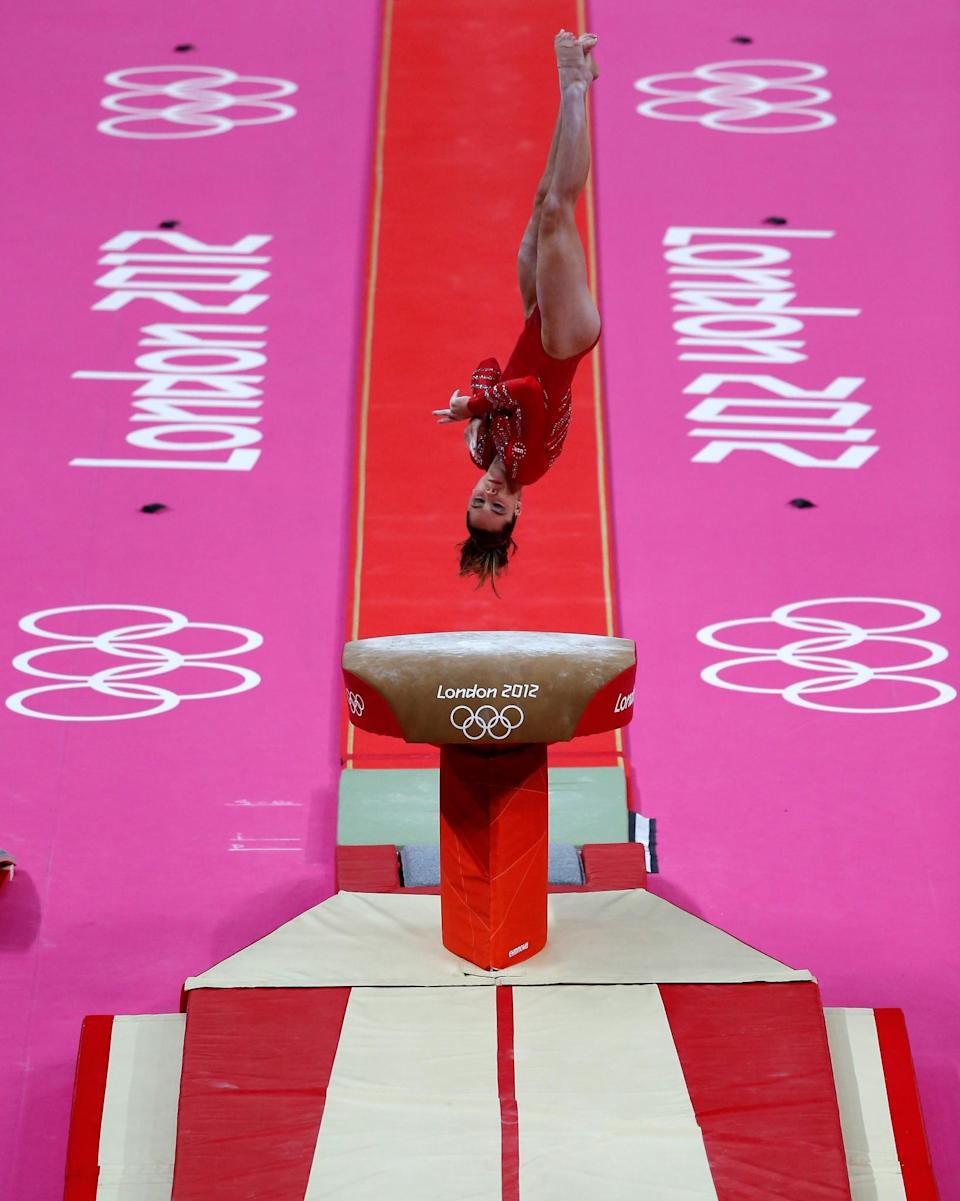 <p>McKayla Maroney Maroney of the United States competes on the vault in the Artistic Gymnastics Women's Team final on Day 4 of the London 2012 Olympic Games at North Greenwich Arena on July 31, 2012 in London, England. (Photo by Jamie Squire/Getty Images) </p>