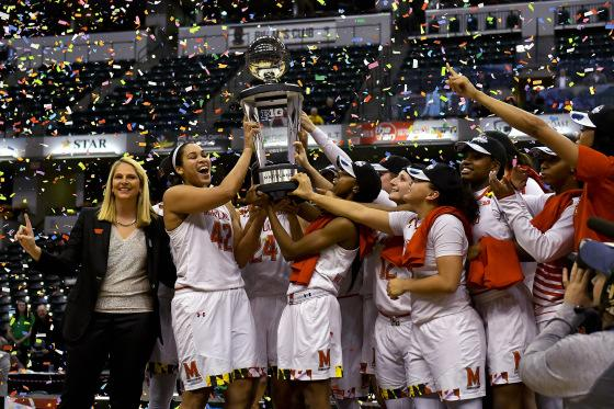The Maryland Terrapins hoist the trophy after beating the Purdue Boilermakers 74-64 to win the Big Ten Tournament championship game at Bankers Life Fieldhouse March 05, 2017 in Indianapolis, IN.