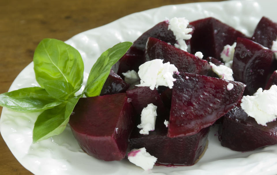 """<p>If you're sad that you may have left salads behind with the summer, this might perk you up. Beetroot works brilliantly in a salad, especially when teamed with creamy goat's cheese. Great for a starter, like <a href=""""http://www.dinner4good.com/JamieOliverFoundation/recipes-item.php?id=13"""" rel=""""nofollow noopener"""" target=""""_blank"""" data-ylk=""""slk:Jamie Oliver's recipe here"""" class=""""link rapid-noclick-resp"""">Jamie Oliver's recipe here</a>, or a light bite on one of those slightly warmer autumn days. [Photo: Getty] </p>"""