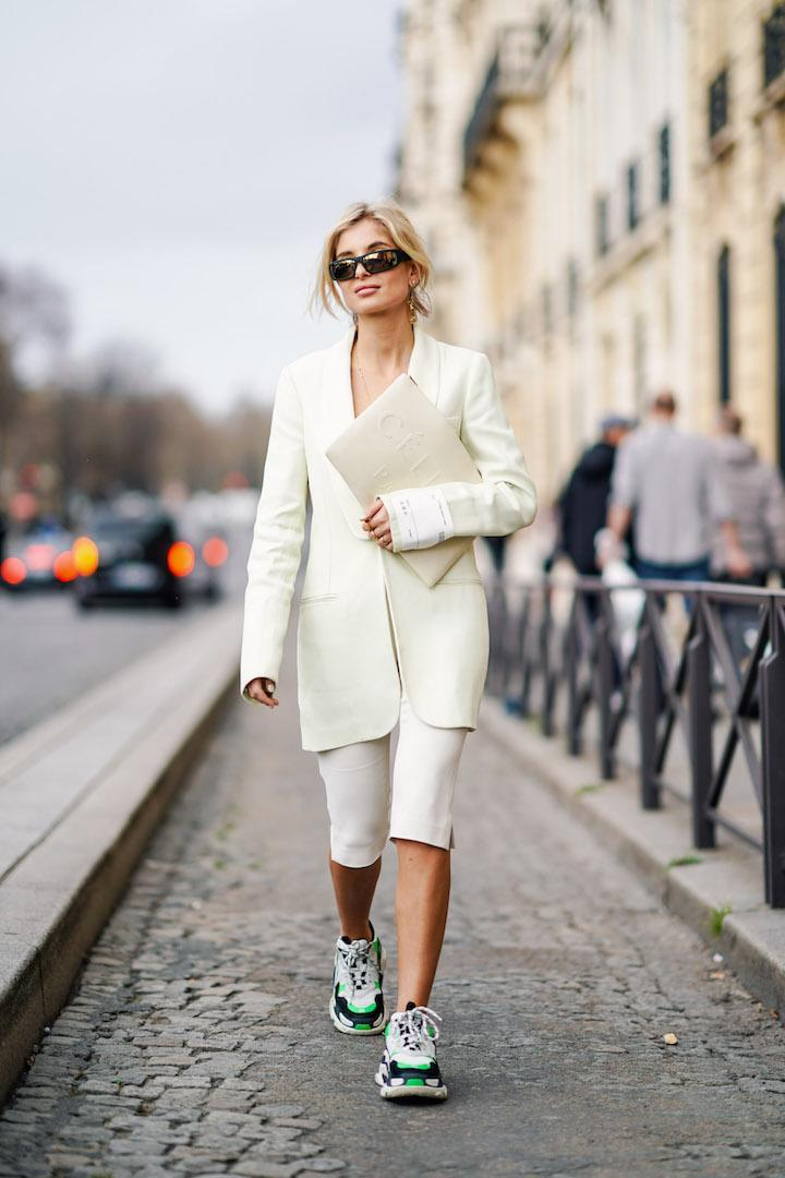 <p>Xenia Adonts is spotted walking the streets of Paris in a minimal co-ord with clompy 'dad' trainers to finish. <em>[Photo: Getty]</em> </p>