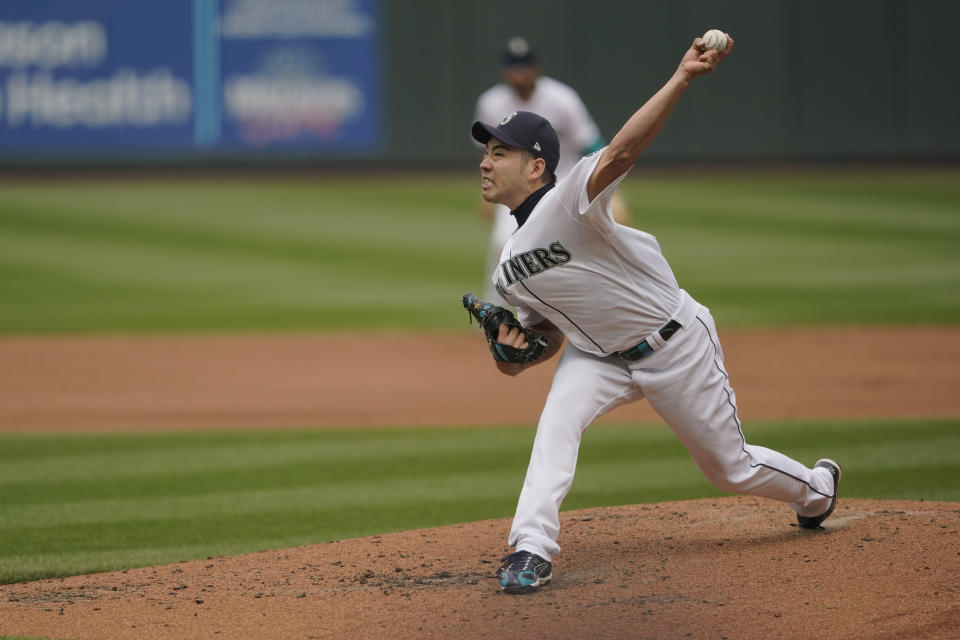 Seattle Mariners starting pitcher Yusei Kikuchi throws against the Baltimore Orioles during the sixth inning of a baseball game, Wednesday, May 5, 2021, in Seattle. (AP Photo/Ted S. Warren)